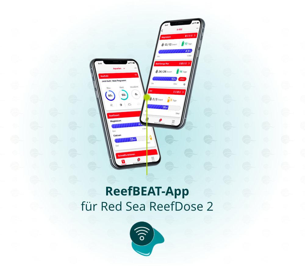 Dieses Bild zeigt die Red Sea ReefBeat App für die ReefDose 2