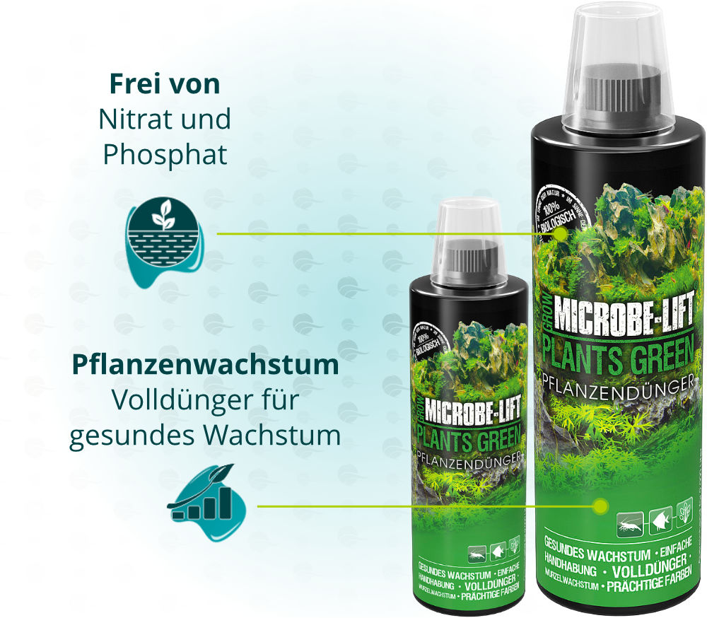 Dieses Bild zeigt die Eigenschaften von Microbe Lift Plants Green