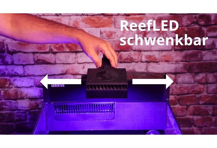Red Sea Reef LED 50 über dem Max Nano Meerwasseraquarium schwenkbar