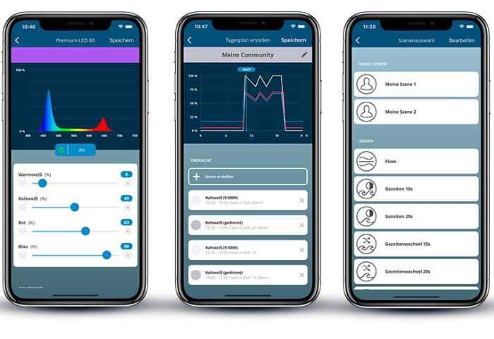 Dieses Bild zeigt verschiedene Funktionen der App