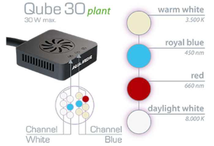 Aqua Medic Qube 30 Plant LED Verteilung